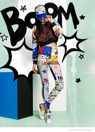 leggings adidas adidas pants workout leggings workout adidas leggings pop art adidas superstars rita ora rita ora adidas yellow red blue white colorful printed leggings