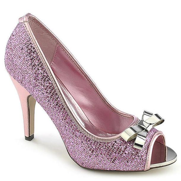 a91543975c2f shoes heels peep toe heels glitter sparkle kitten heel silver prom girly  cute trendy fuchsia pink