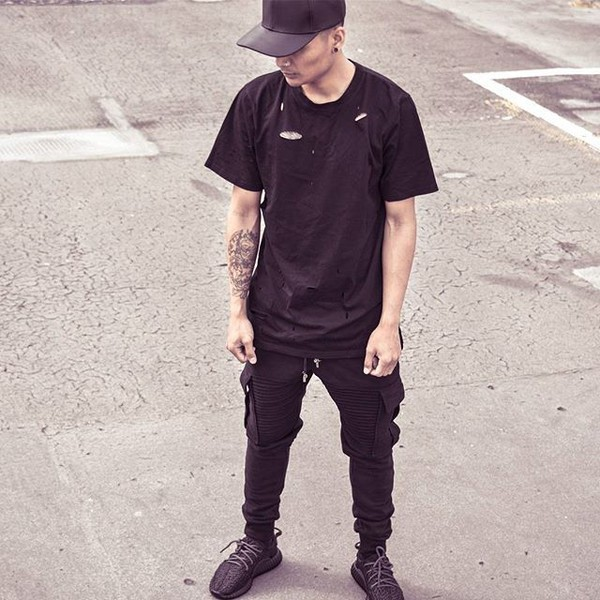 t-shirt maniere de voir black ripped ripped top casual joggers all black everything