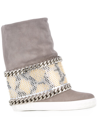 wedge boots women boots leather suede grey shoes