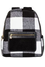 bag,black backpack,backpack,black and white,black,white,plaid,tartan