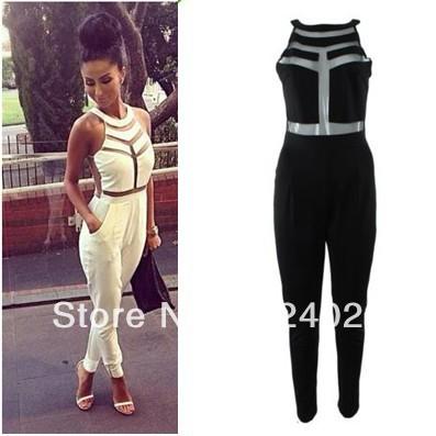 Free shipping 2014 Fashion Net yarn splicing halter Jumpsuit FT691 Sexy women bandage dress Milenka Mesh Panel Jumpsuit LQ4321 on Aliexpress.com