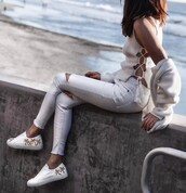 jeans,tumblr,white jeans,ripped jeans,skinny jeans,top,lace up,sneakers,white sneakers,low top sneakers,cardigan,white cardigan,all white everything