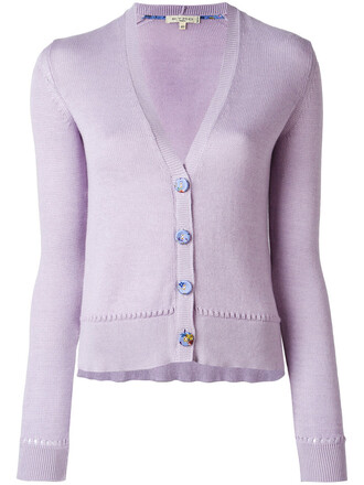 cardigan women cotton purple pink sweater
