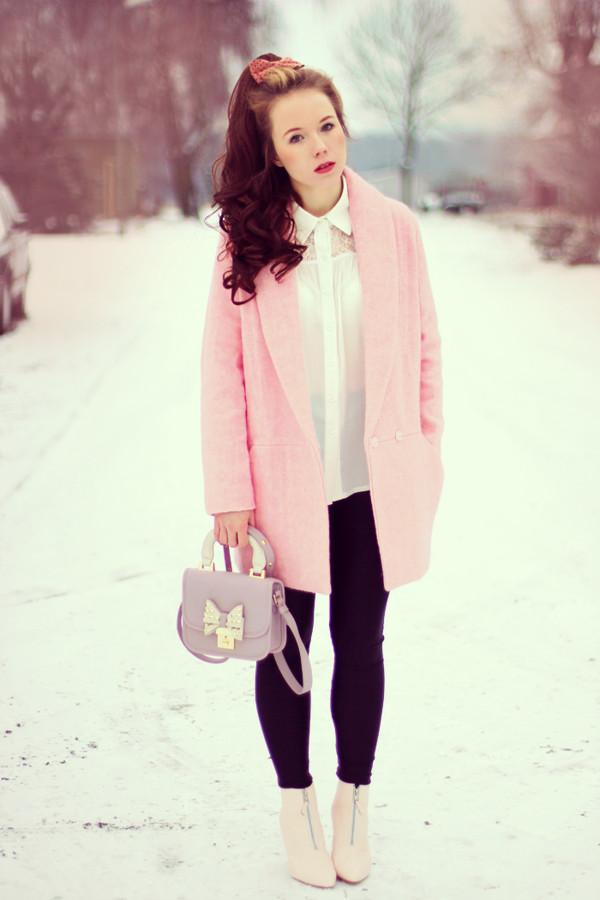 coat pink jacket top clothes cute bag fashion