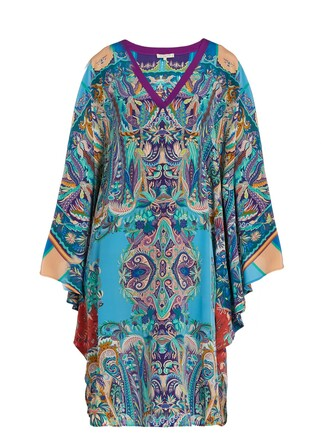 floral print silk paisley blue top