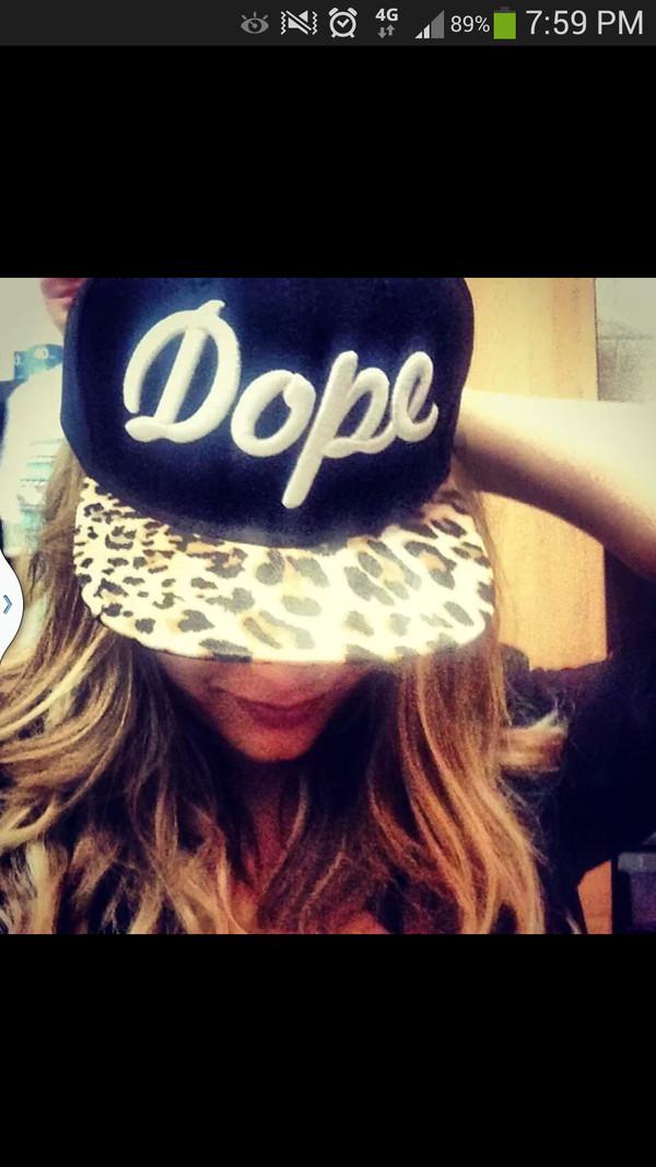 hat dope snapback leopard print