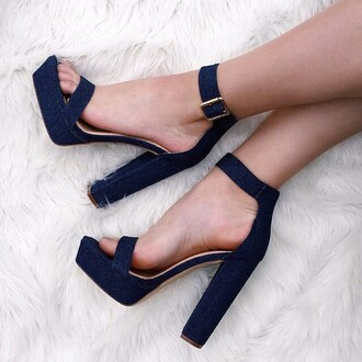 shoes chunky sole chunky heel denim chambray jeans jean heels single strap platform shoes platform heels gojane