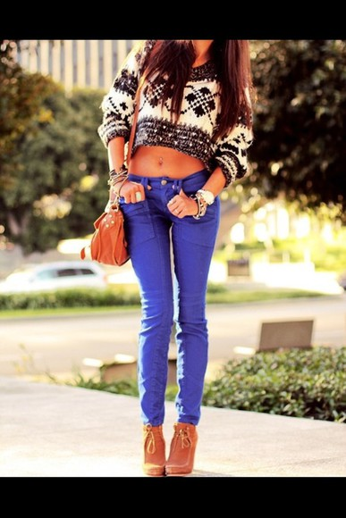 blue jeans sweater blue tumblr cropped sweater bw tumblr sweater white and black sweater