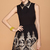 Black Lapel Sleeveless Zipper Embroidery Dress