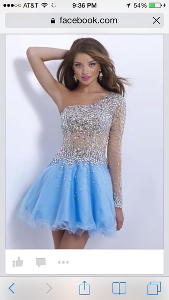 dress blush prom dress light blue tulle cocktail one sleeve beaded neck and arm
