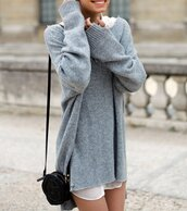 sweater,sweat,dress,clothes,oversized sweater,grey,bag,sweater dress,grey sweater,winter dress,light blue,girly,winter outfits,warm,oversized,long jersey,wool,blue,winter sweater,comfy,fall outfits,victoria's secret model