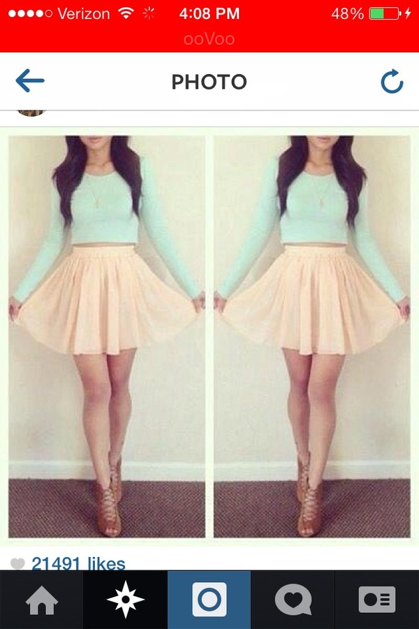 shoes blue top pink skirt t-shirt mint crop top