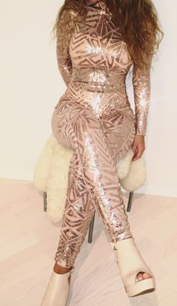 b0440e1ffa jumpsuit gold pink glitter bodycon jumpsuit sequins.