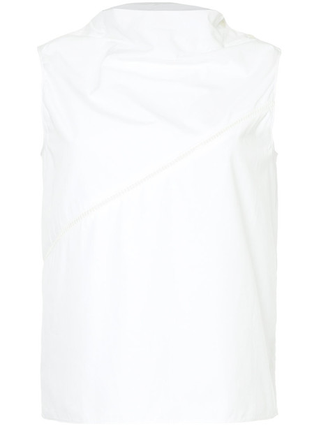 Ck Calvin Klein top sleeveless embroidered women white cotton