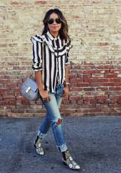 sincerely jules,blogger,ruffle,ripped jeans,snake shoes,striped shirt,ruffle shirt,shirt,blue jeans,jeans,aviator sunglasses,sunglasses,chloe,chloe bag,grey bag,chain bag,printed boots,mid heel boots,snake print ankle boots,spring outfits,stripes,ankle boots