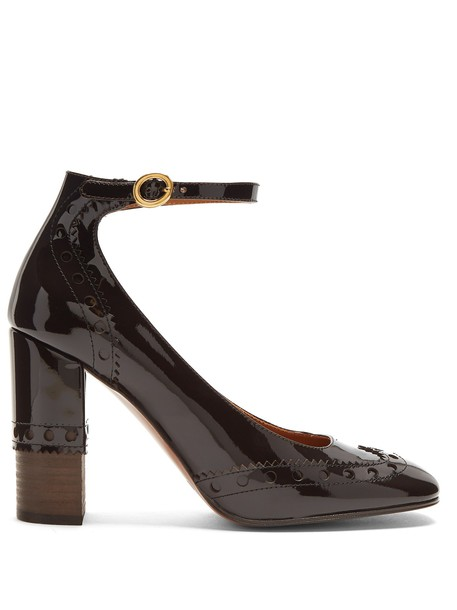 Chloe heel pumps leather dark brown shoes