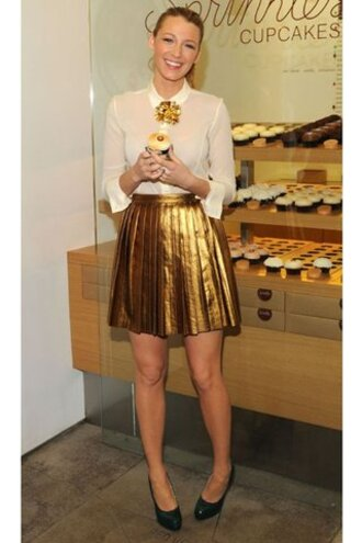 gold skirt metallic skirt blake lively shoes shirt metallic pleated skirt
