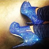 shoes,royal blue,sparkly heels,peep toe heels,blue,sparkle,glitter,crystal,heels,boots