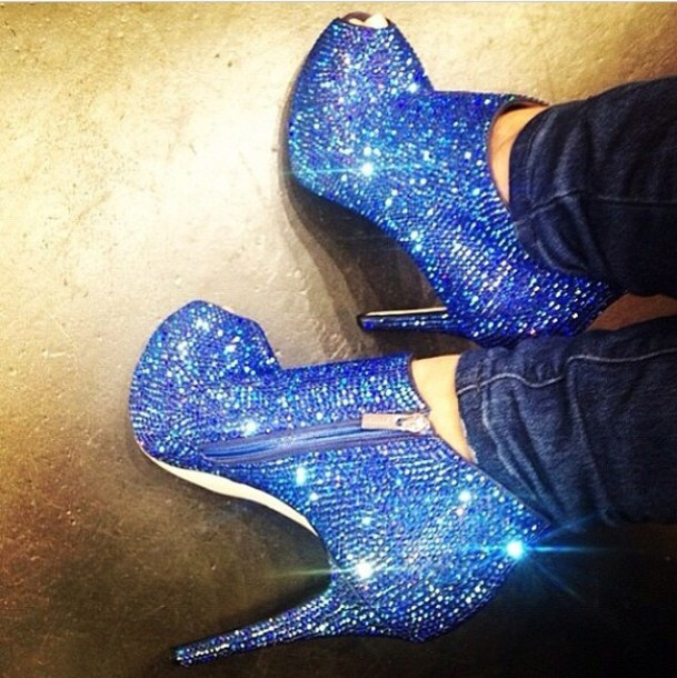 Shoes: royal blue, sparkly heels, peep toe heels - Wheretoget
