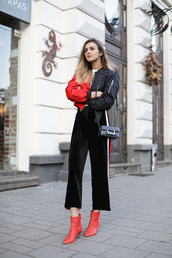 pants,tumblr,black pants,velvet,black velvet pants,cropped velvet pants,wide-leg pants,culottes,black culottes,boots,red boots,ankle boots,jacket