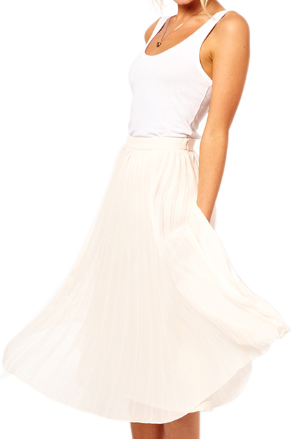 ROMWE | ROMWE Layered Pleated Chiffon White Skirt, The Latest Street Fashion