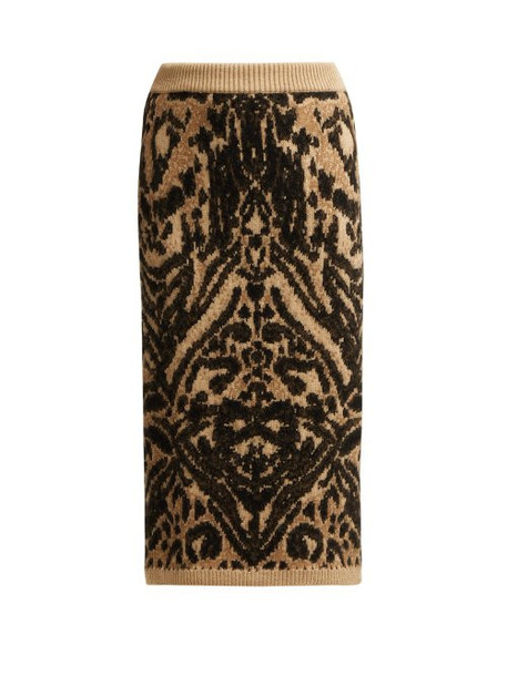Raey - Tiger Knitted Pencil Skirt - Womens - Brown Multi
