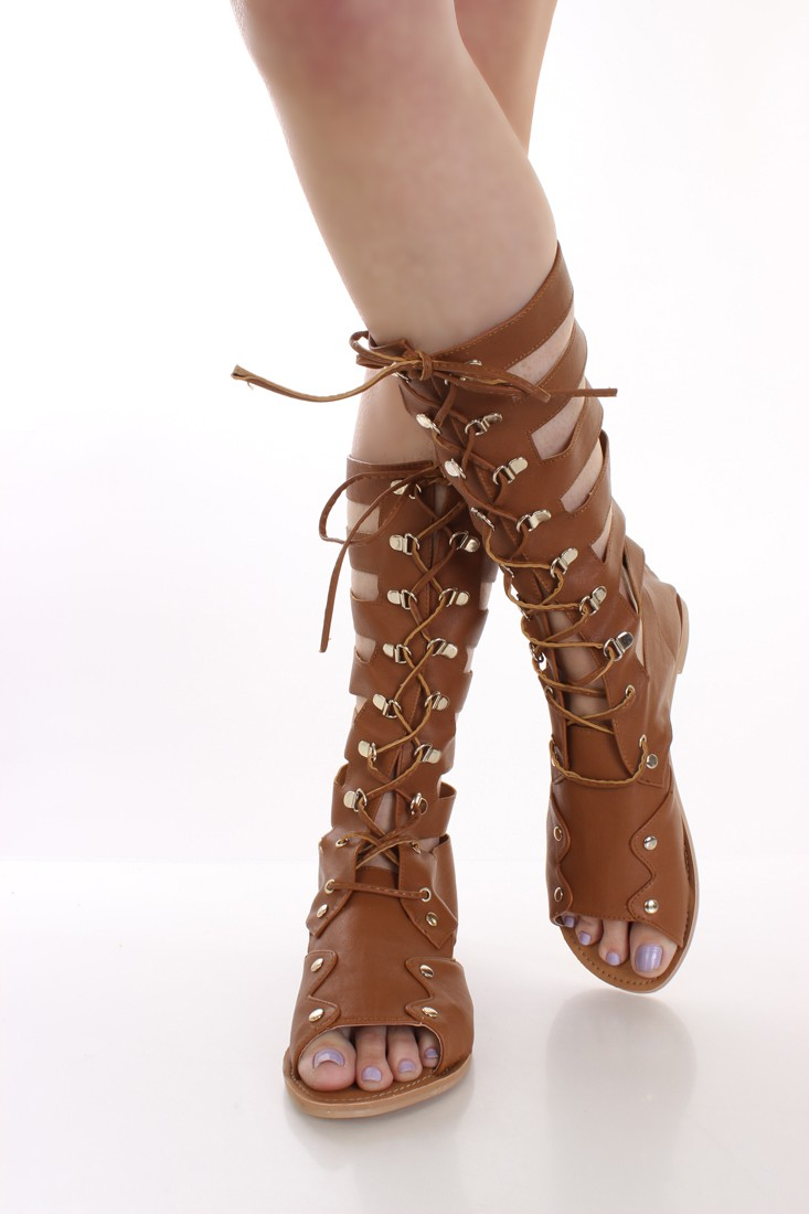 Camel Patent Faux Leather Mid Calf Gladiator Sandals @ Amiclubwear Sandals Shoes online store sale:Sandals,Thong Sandals,Women's Sandals,Dress Sandals,Summer Shoes,Spring Shoes,Wooden Sandal,Ladies Sandals,Girls Sandals,Evening Dress Shoes,Casual Sandals,