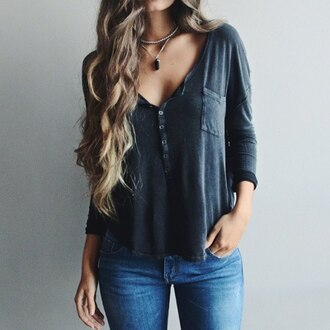 shirt blouse black blouse black t-shirt grey t-shirt long sleeves grey blue pockets three-quarter sleeves button up blouse button up shirt button up buttons pocket t-shirt style fashion top jewels t-shirt lazy day jeans cute top casual top with buttons in front cute buttons up front gray dark colors
