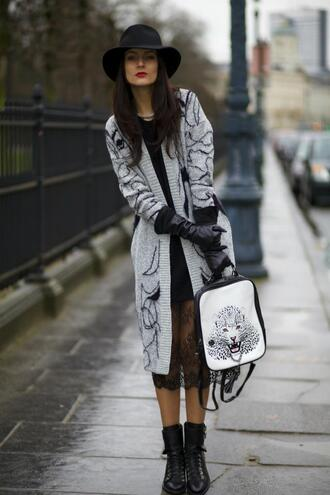 from brussels with love blogger knitted cardigan lace skirt gloves cardigan dress shoes bag