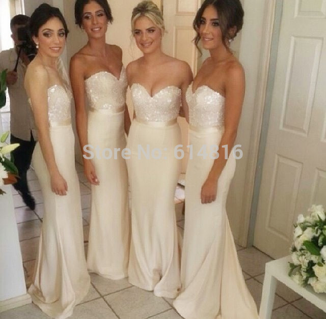 Aliexpress.com : Buy Sexy Designer Sequined Sweetheart Long White Mermaid Satin Bridesmaid Dresses 2014 Free Shipping from Reliable bridesmaid dress suppliers on Suzhou Babyonlinedress Co.,Ltd