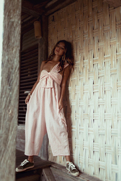 shoes,tumblr,espadrilles,sneakers,jumpsuit,pink jumpsuit,one shoulder,summer outfits
