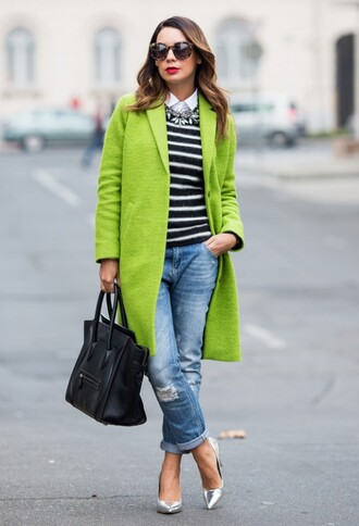 coat black and white striped shirt ripped jeans metallic heels black bag blogger sunglasses