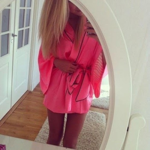 pink bright pink underwear pale pink stripes robe gown bow dressing gown dressing black white stripe