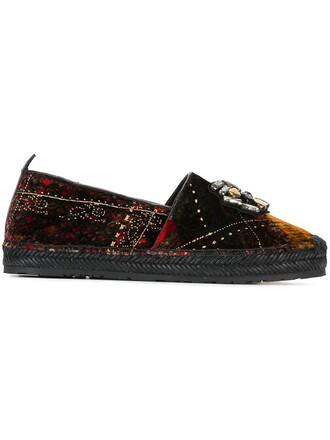 plaid embellished slippers black shoes