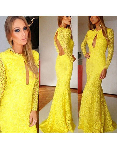 Yellow lace long bodycon peplum mermaid dress dresses backless party