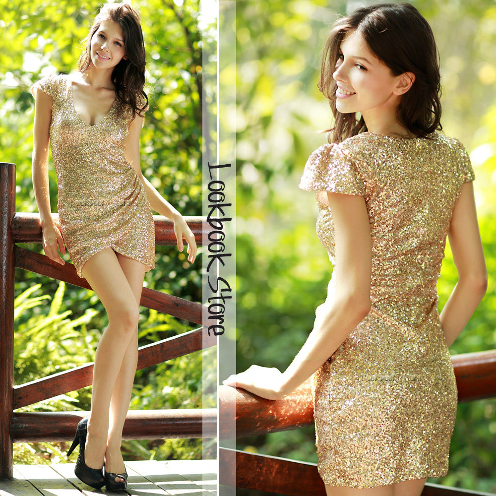Women Sexy Gold Sequins Plunging V Neckline Bodycon Side Slits Pleated Dress | eBay