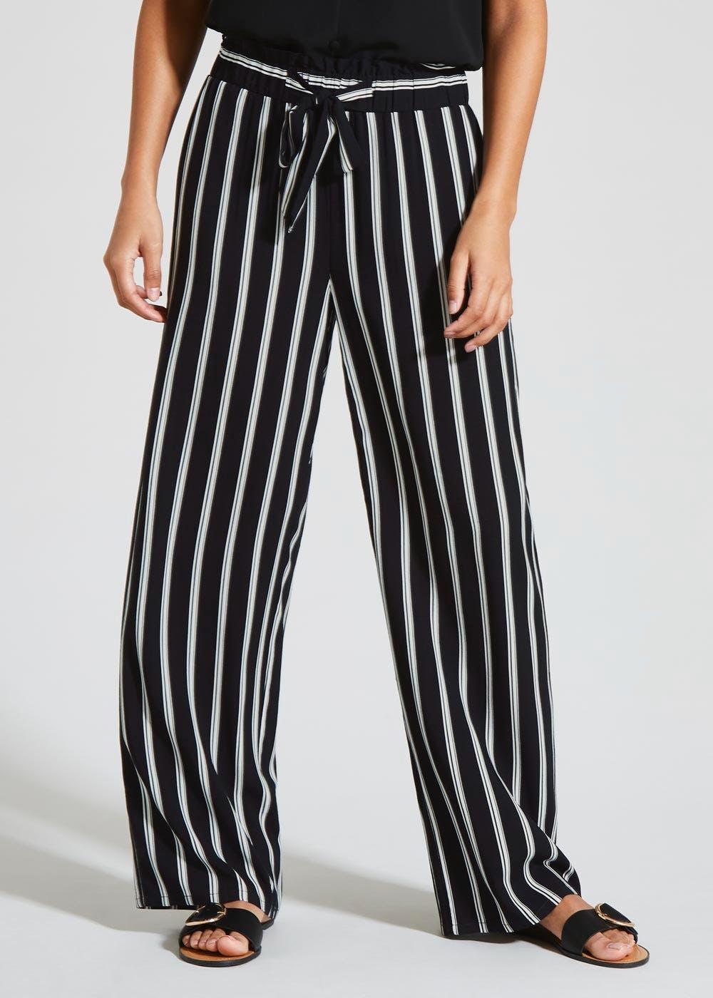 Stripe Wide Leg Trousers – Black