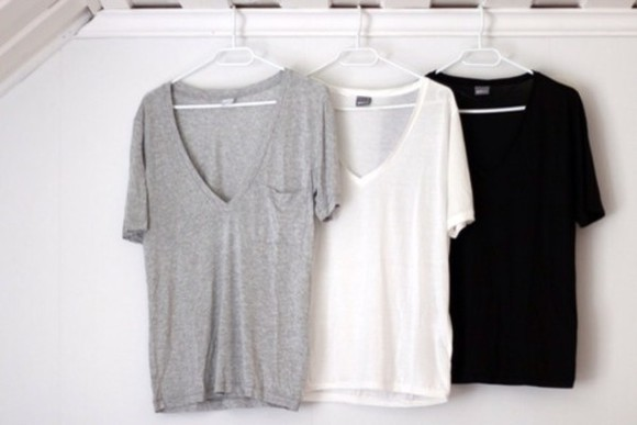 t-shirt shirt grey t-shirt white black t-shirt clothes t-shirts deep v neck v-neck