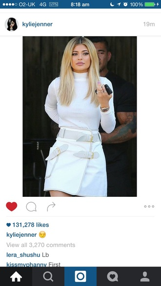 skirt kylie jenner white skirt buckles