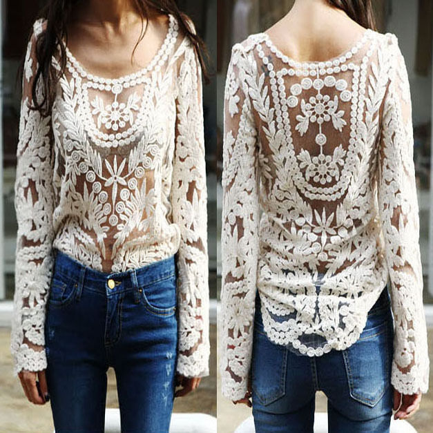 Women Semi Sexy Sheer Long Sleeves Embroidery Floral Lace Crochet Top Blouse J | eBay