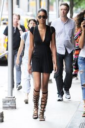 dress,mini dress,plunge dress,gladiators,black dress,little black dress,chanel iman,model off-duty