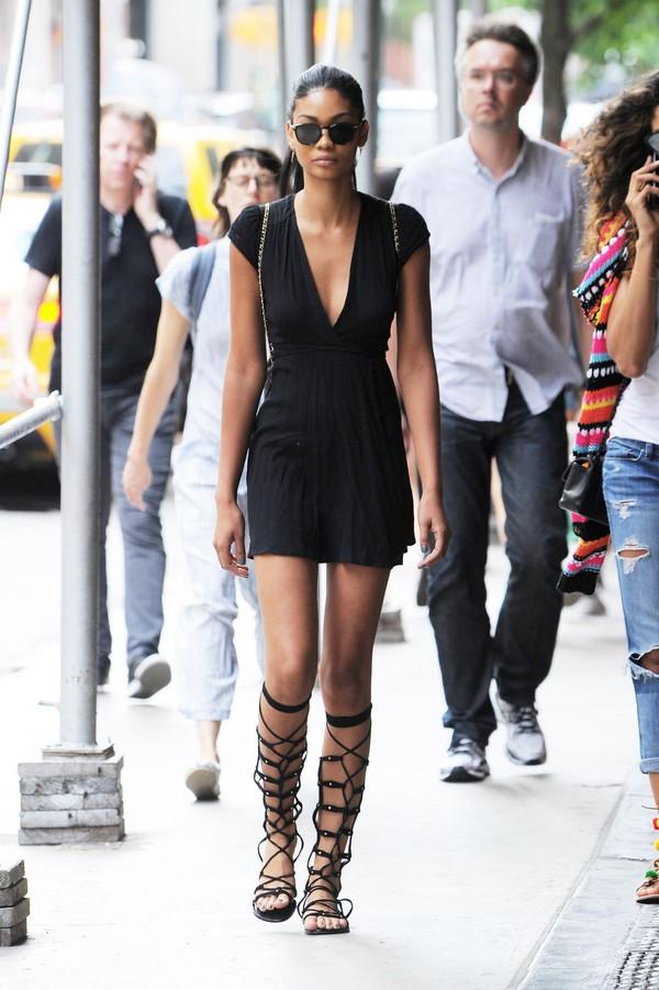 dress mini dress plunge dress gladiators black dress little black dress chanel iman model off-duty