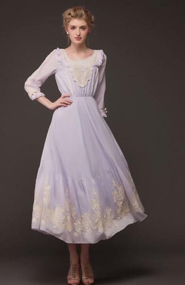 lavender dress embroidered dress midi dress long sleeve dress vintage www.ustrendy.com