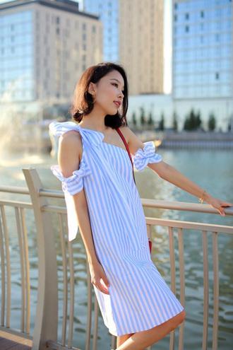 dress tumblr mini dress stripes striped dress blue dress one shoulder summer dress