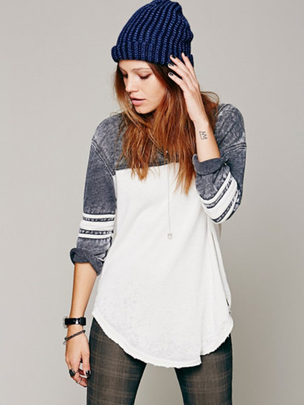 casual t-shirt clothes free people top navy white distressed washed baseball jersey we the free red blue baseball tee long sleeve