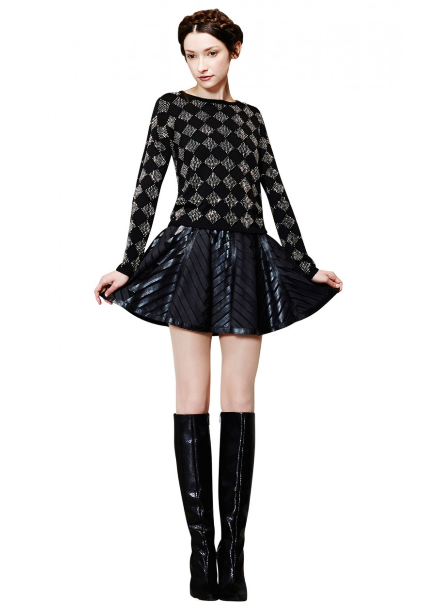 alice   olivia | DIAMOND RHINESTONE SWEATER