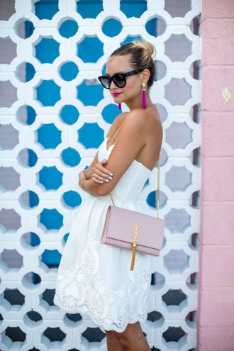 late afternoon blogger dress sunglasses shoes bag jewels white dress yves saint laurent pink bag shoulder bag earrings lace dress white lace dress mini dress date outfit summer outfits ysl bag