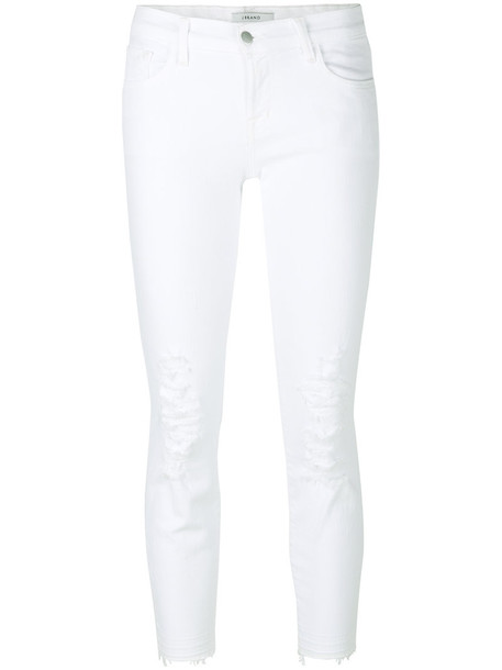 jeans ripped jeans cropped women spandex ripped white cotton 24