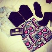 skirt,patterned skirt,tank top,shoes,jacket